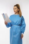 Certified disposable medical clothing, made of silicone coated non-woven fabric.